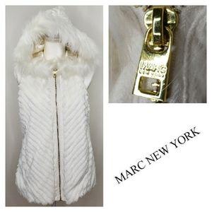 Marc New York Snow Bunny Faux Fur Vest Hood